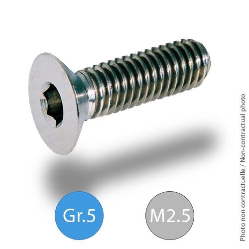 Titanium bolts - DIN 7991 - M2.5 - Grade 5