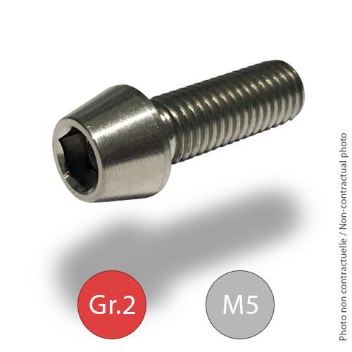 Titanium tapered socket head screw -M5 - Grade2