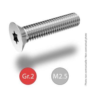 Titanium bolts - ISO 14581 - M2.5 - Grade 2